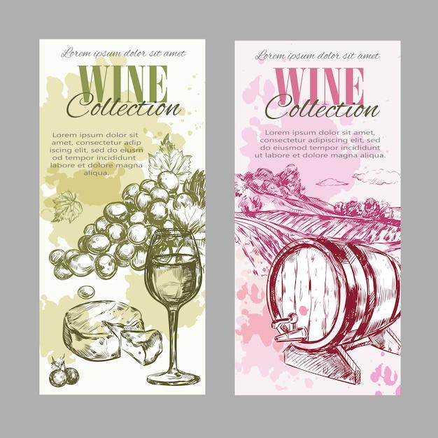 Wein weinberg label set Kostenlosen Vektoren