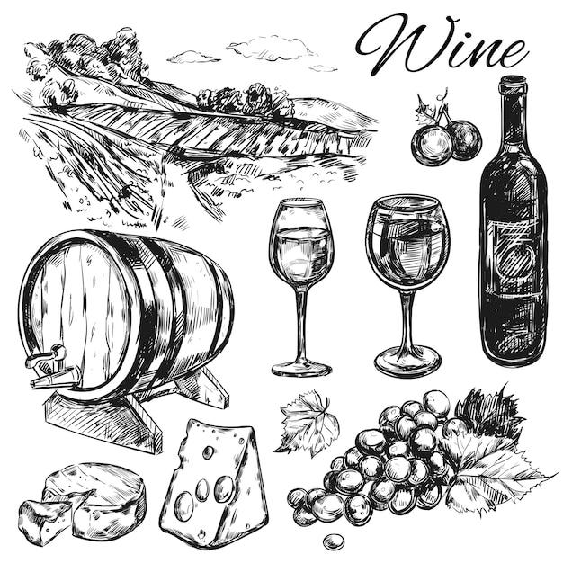 Wein weinberg set Kostenlosen Vektoren