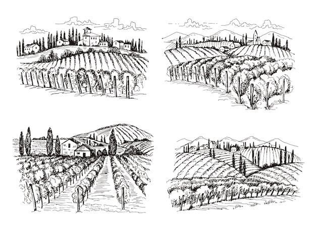 Weinberg. handgezeichnete illustrationen der alten französischen schlossweinlandschaft für etikettenentwurfsprojekte Premium Vektoren