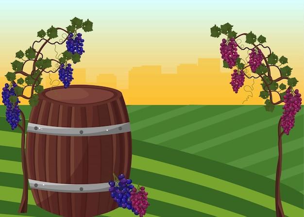 Weinfass und trauben ernten vektor hintergrund Premium Vektoren