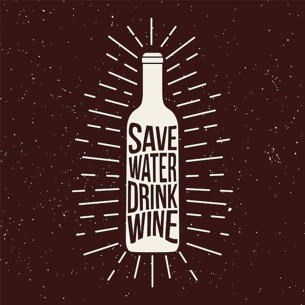 Weinflasche grunge drucken. Premium Vektoren