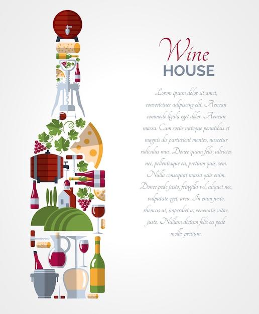 Weinflascheikonen-zusammensetzungsplakat Kostenlosen Vektoren