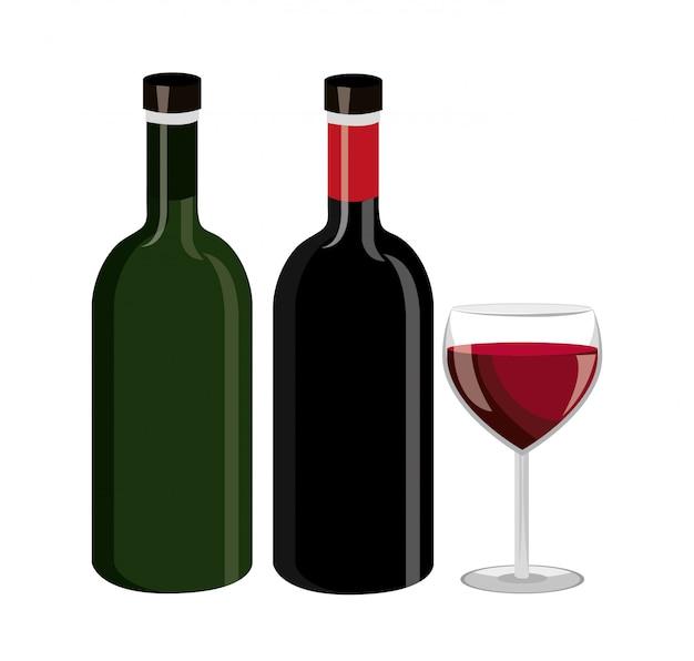 Weinflaschendesign. Kostenlosen Vektoren