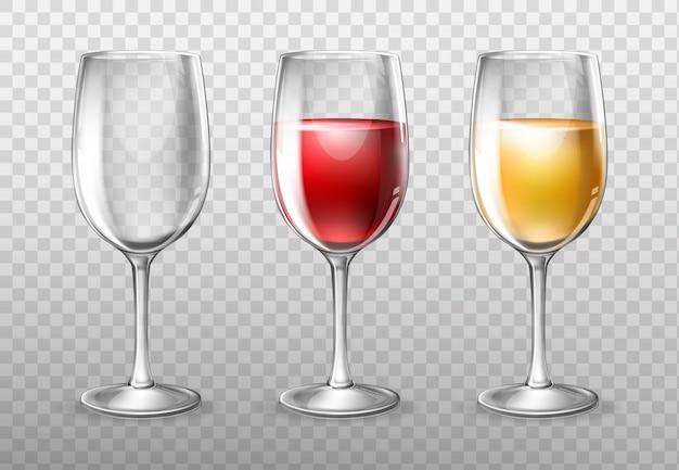 Weingläser, leer und voller rotwein Kostenlosen Vektoren