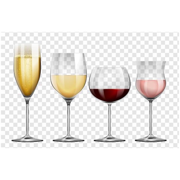 Weingläser sammlung Premium Vektoren