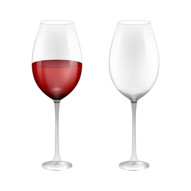 Weinglas mit rotwein. illustration lokalisiert auf hintergrund. Premium Vektoren