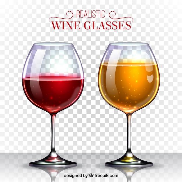 Weinglas-sammlung in realistischem stil Kostenlosen Vektoren