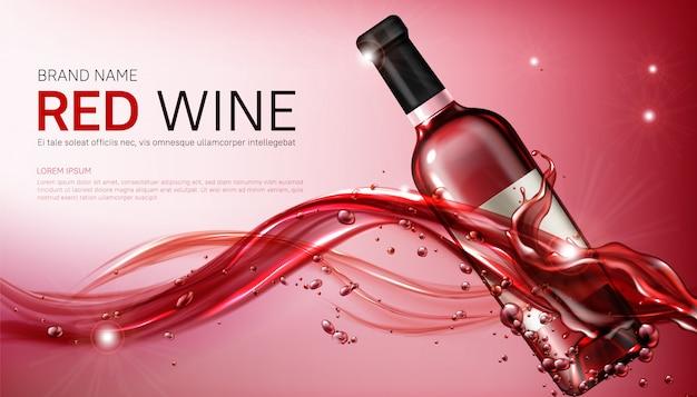 Weinglasflaschen in flüssiger roter flüssigkeit realistisch Kostenlosen Vektoren