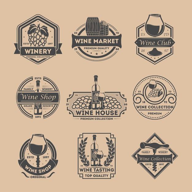 Weinhandlungsweinlese lokalisierte kennsatzfamilie Premium Vektoren
