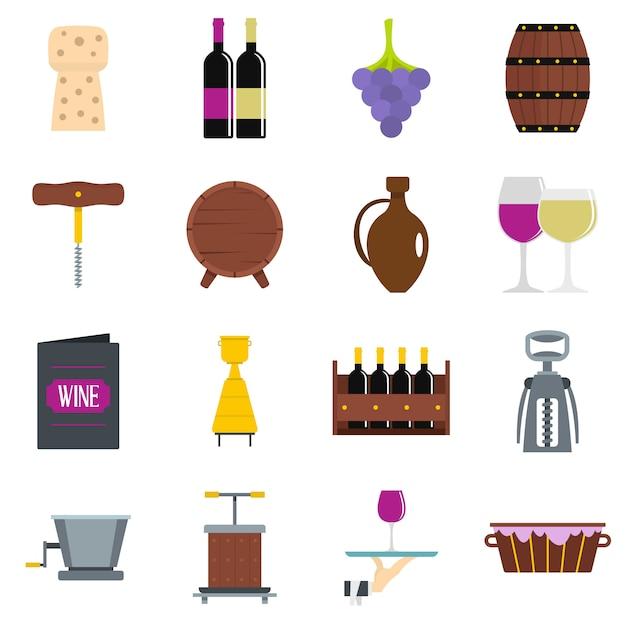 Weinikonen eingestellt in flache art Premium Vektoren