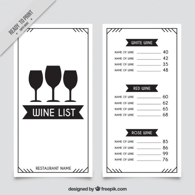 Weinkarte Vorlage mit drei Gläsern | Download der kostenlosen Vektor