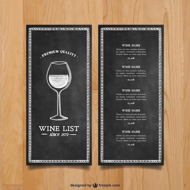 Weinkarte Vorlage Kostenlose Vektoren