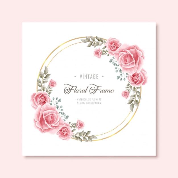 Weinlese-aquarellblumenblumenrahmen mit goldenem kreis Premium Vektoren