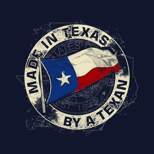 Weinlese-art ein texas-thema Premium Vektoren