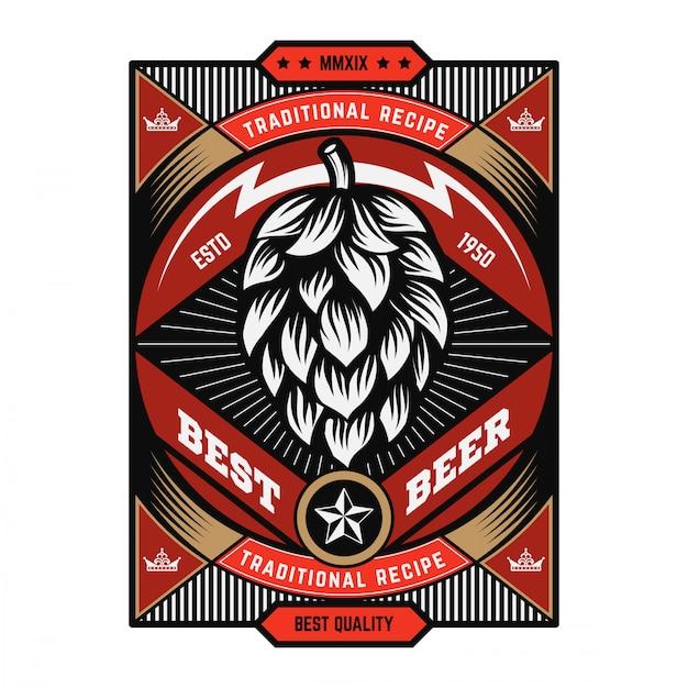 Weinlese-bier-emblem Premium Vektoren
