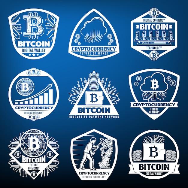 Weinlese-bitcoin-währungsetiketten, die mit computerhardware-münzen der zahlungsnetzwerkserverwolken-wolken-bergbaugraphen isoliert werden Kostenlosen Vektoren