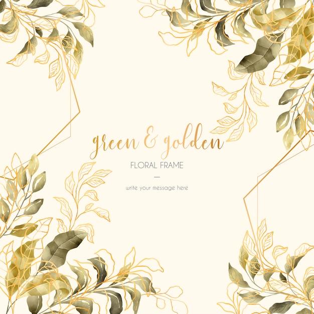 Weinlese-blumenrahmen mit den goldenen und grünen blättern Kostenlosen Vektoren