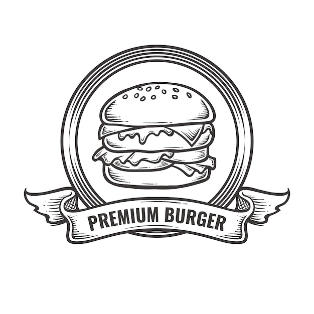 Weinlese-burger-logo Premium Vektoren