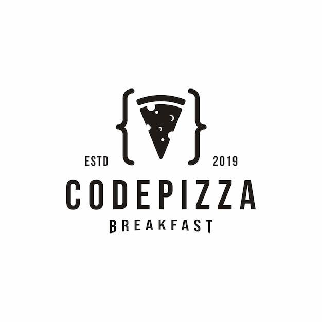 Weinlese-code-pizza-logo Premium Vektoren