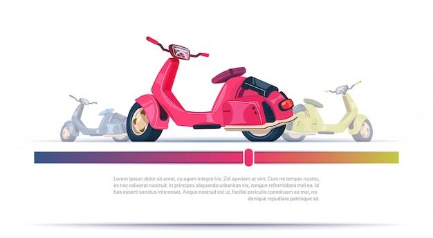 Weinlese-elektrischer roller-rot lokalisiert über schablonen-hintergrund mit kopienraum Premium Vektoren