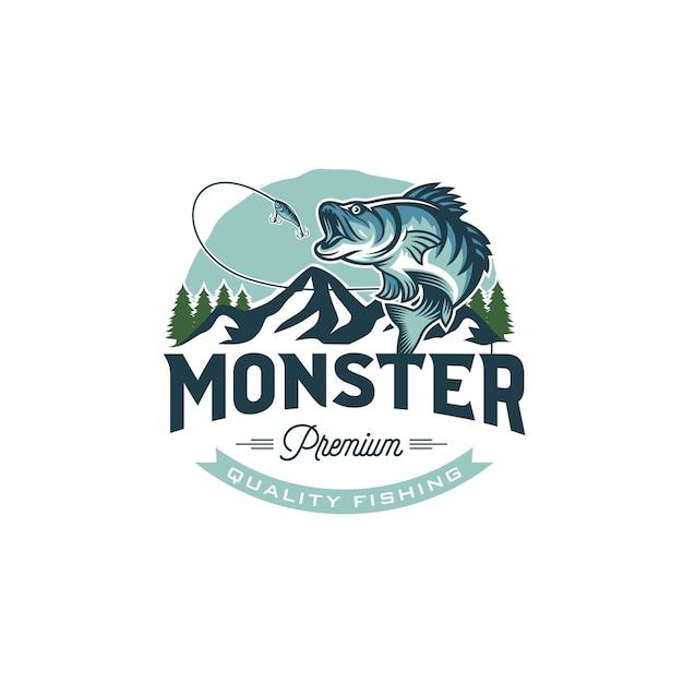 Weinlese-fischen-logo-bild Premium Vektoren