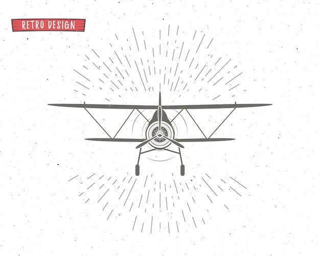 Weinlese-flugzeugschattenbild mit sonnendurchbrüchen. Premium Vektoren