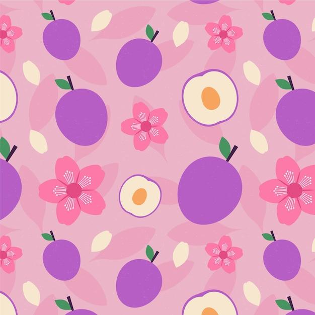 Weinlese geometrisches pflaumenfrucht- und blumenmuster Kostenlosen Vektoren