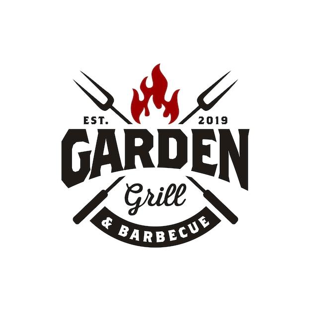 Weinlese-gril-barbeque-logoentwurf Premium Vektoren