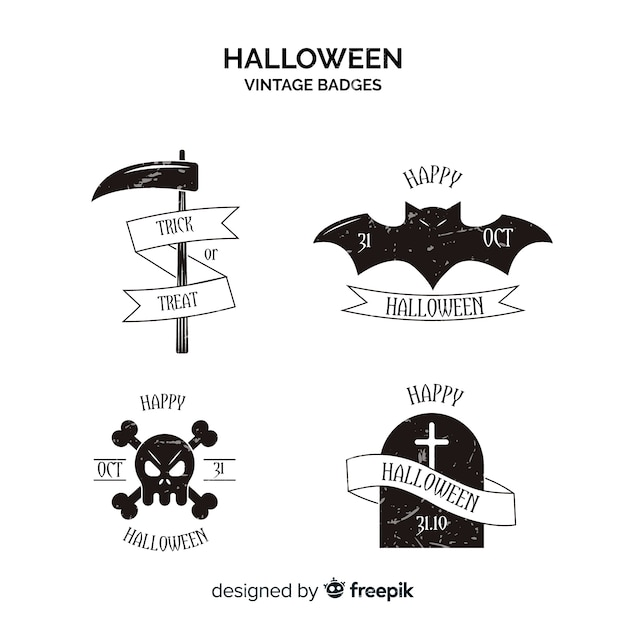 Weinlese halloween beschriftet sammlung in schwarzweiss Kostenlosen Vektoren