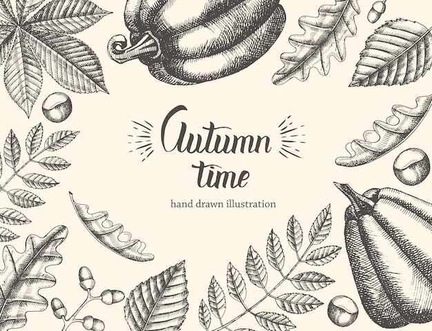 Weinlese-herbsthintergrund mit hand gezeichneten blättern und kürbis. handgeschriebenes modisches zitat autumn time Premium Vektoren