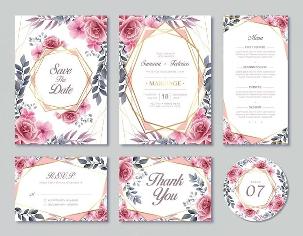 Weinlese-hochzeits-einladungs-karten-schablonen-aquarell-blumenblumenart mit uawg-menü und tabellennummer Premium Vektoren