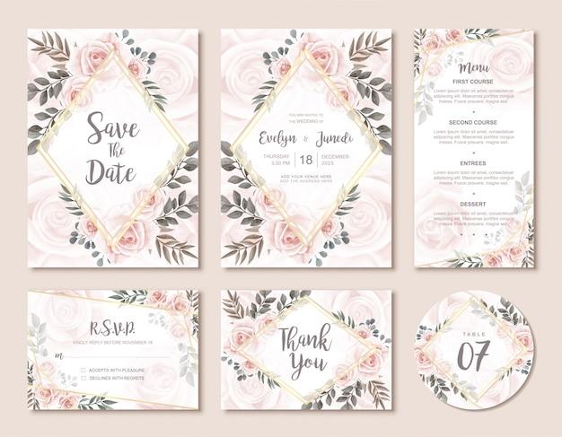 Weinlese-hochzeits-einladungs-karten-set mit schönen aquarellblumenrosen-blumen Premium Vektoren