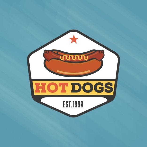 Weinlese-hot-dog-logo-vorlage Kostenlosen Vektoren