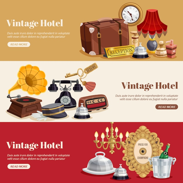 Weinlese-hotel-horizontales fahnen-set Kostenlosen Vektoren