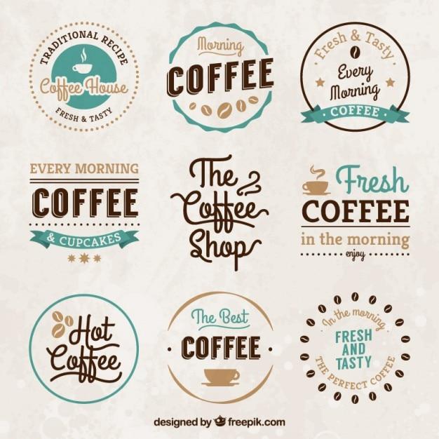 Weinlese-kaffeehaus abzeichen Kostenlosen Vektoren