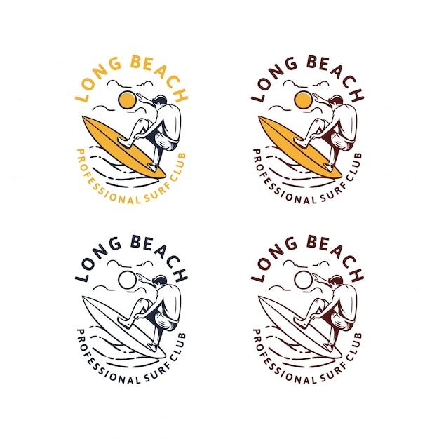 Weinlese-logosatz des long beach-surfens Premium Vektoren