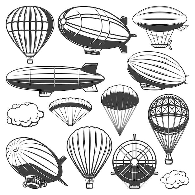 Weinlese-luftschiff-sammlung mit wolkenheißluftballons und luftschiffen verschiedener arten isoliert Kostenlosen Vektoren