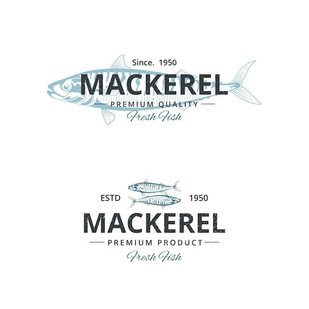 Weinlese-makrelenfisch-logoschablone für restaurant Premium Vektoren