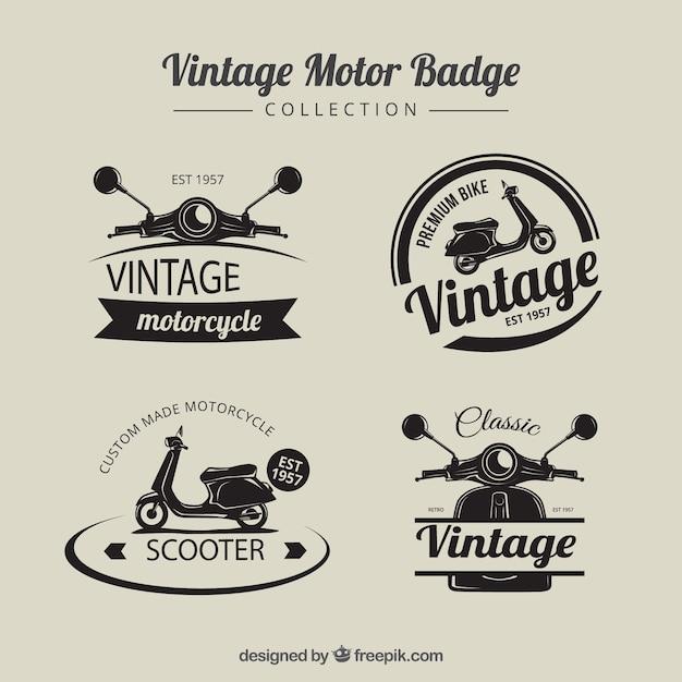 Weinlese-motorrad-abzeichen Kostenlosen Vektoren