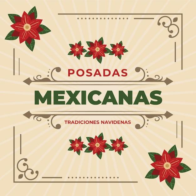 Weinlese posadas mexicanas hintergrund Kostenlosen Vektoren