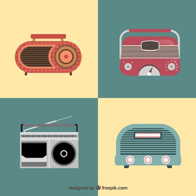 Weinlese-radios pack Kostenlosen Vektoren