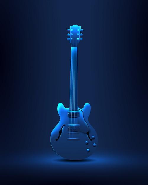 Weinlese redete retro liverockmusik-party mit gitarre an Premium Vektoren