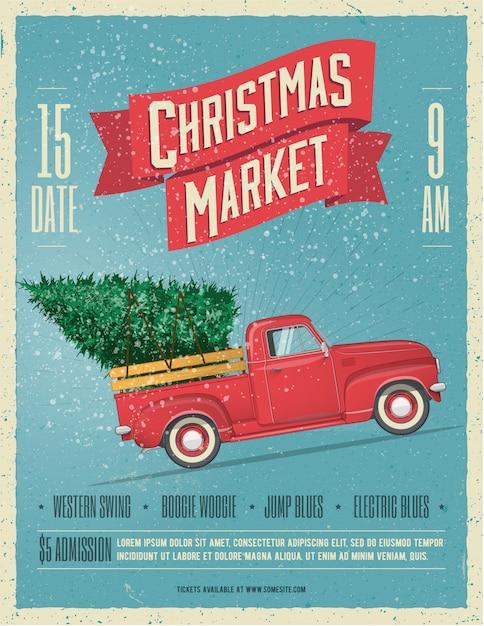 Weinlese redete weihnachtsmarkt-plakat oder flieger-schablone mit retro- rotem kleintransporter mit weihnachtsbaum an bord an Premium Vektoren