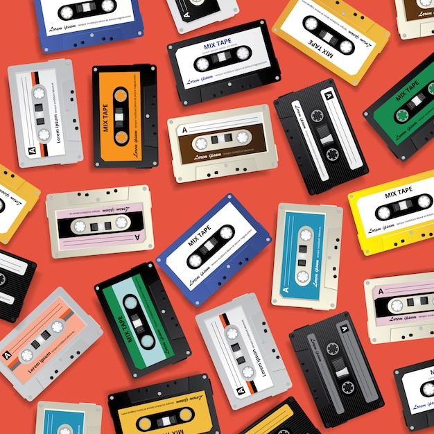 Weinlese-retro- kassetten-muster-design-schablonen-vektor-illustration Premium Vektoren