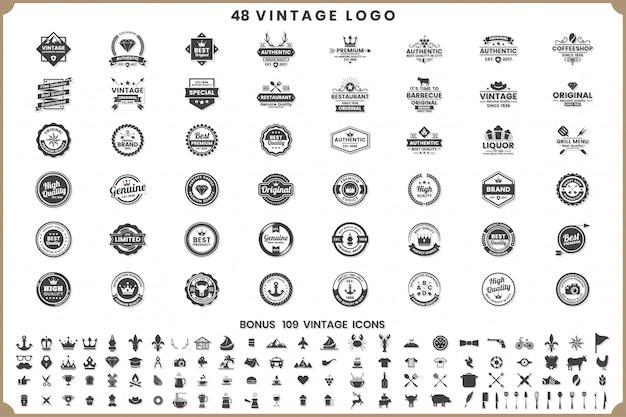 Weinlese-retro- vektor-logos und -ikonen Premium Vektoren