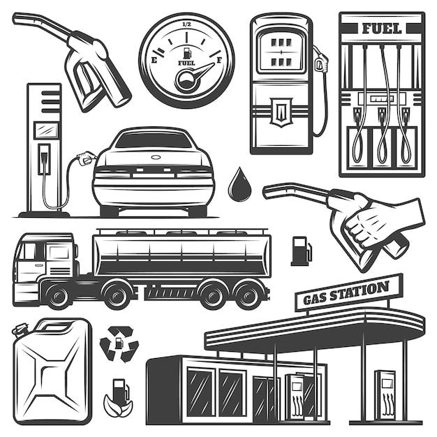 Weinlese-tankstellenikonen-sammlung mit gebäudekanisterauto, das benzin-kraftstoff-lkw-kraftstoffpumpendüsen nachfüllt, isoliert Kostenlosen Vektoren