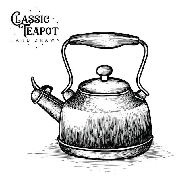Weinlese-teekannen hand gezeichnet Premium Vektoren