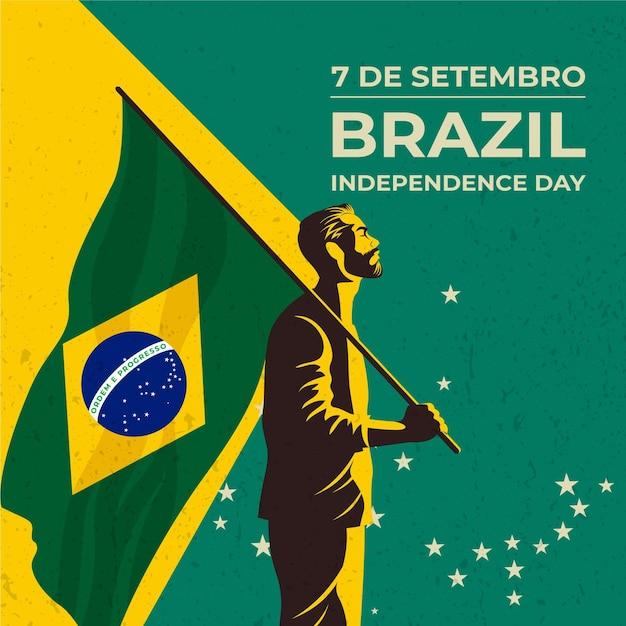 Weinlese-unabhängigkeitstag von brasilien Premium Vektoren