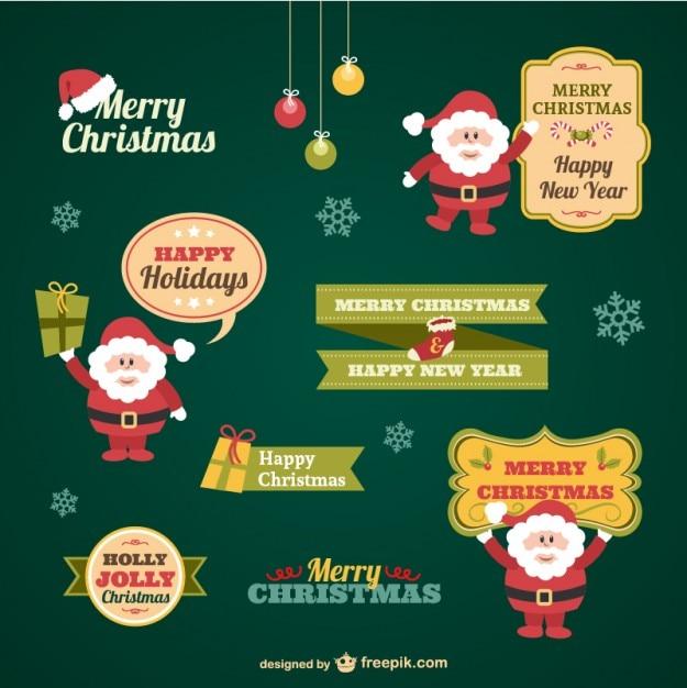 Weinlese-Weihnachtsaufkleber Sammlung Kostenlose Vektoren