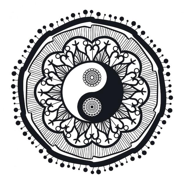 Weinlese yin und yang im mandala Premium Vektoren